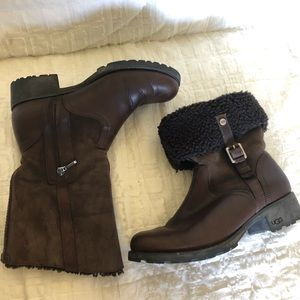 Ugg Bellvue brown leather suede boots size 8